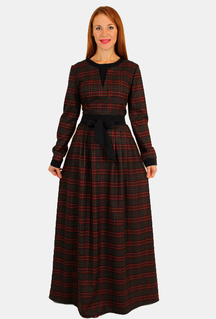 Теплое платье в клетку с длинным рукавом 9cb1aca912c7a