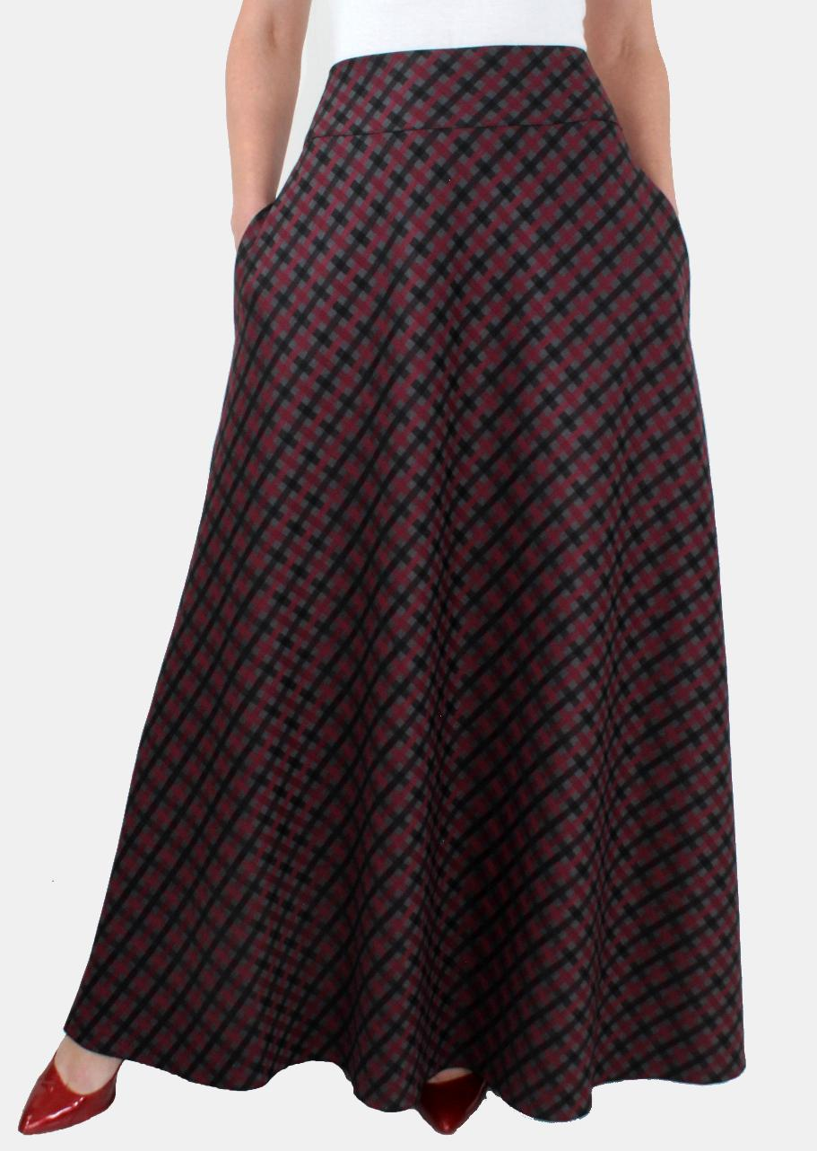fc370656d66 Теплая длинная юбка в клетку с карманами